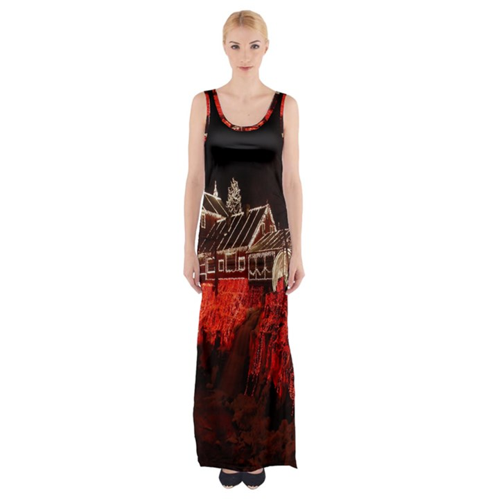 Clifton Mill Christmas Lights Maxi Thigh Split Dress
