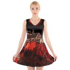 Clifton Mill Christmas Lights V-Neck Sleeveless Skater Dress