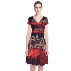 Clifton Mill Christmas Lights Short Sleeve Front Wrap Dress