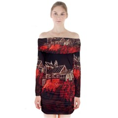 Clifton Mill Christmas Lights Long Sleeve Off Shoulder Dress