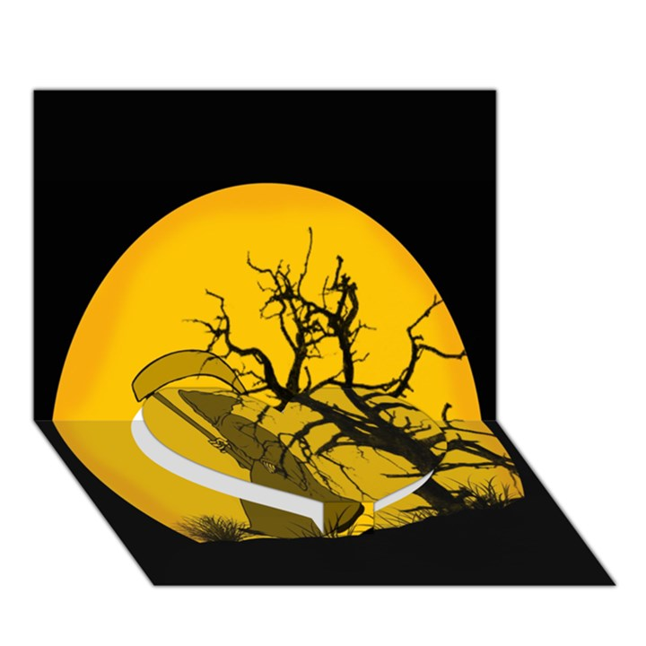 Death Haloween Background Card Heart Bottom 3D Greeting Card (7x5)