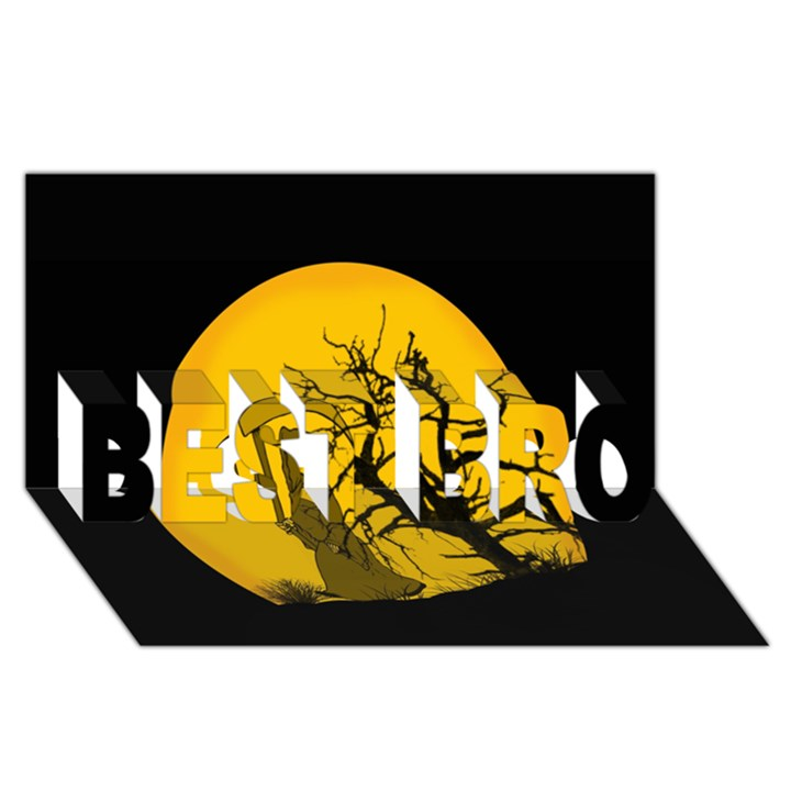 Death Haloween Background Card BEST BRO 3D Greeting Card (8x4)