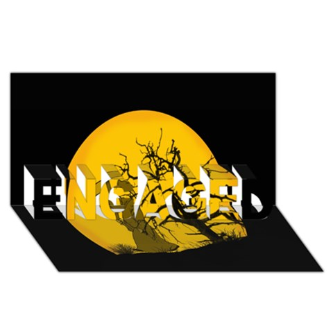 Death Haloween Background Card ENGAGED 3D Greeting Card (8x4)