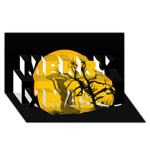 Death Haloween Background Card Merry Xmas 3D Greeting Card (8x4)