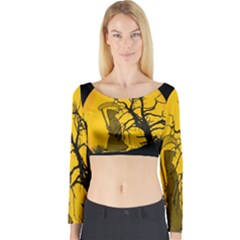 Death Haloween Background Card Long Sleeve Crop Top