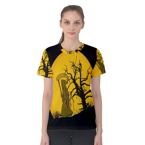 Death Haloween Background Card Women s Cotton Tee