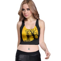 Death Haloween Background Card Racer Back Crop Top