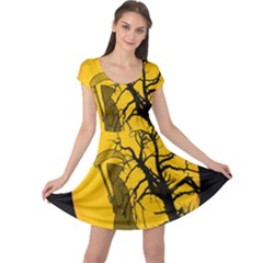 Death Haloween Background Card Cap Sleeve Dresses