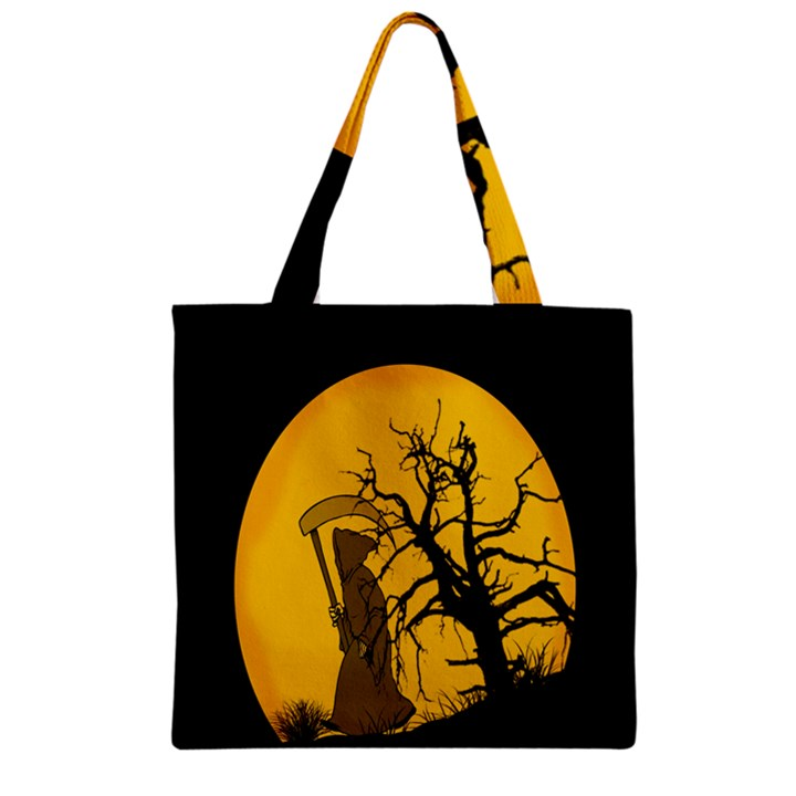Death Haloween Background Card Zipper Grocery Tote Bag