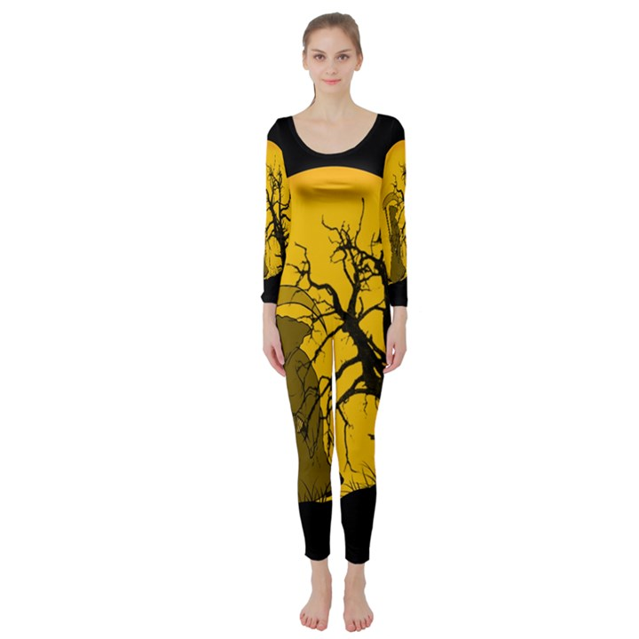 Death Haloween Background Card Long Sleeve Catsuit