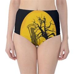 Death Haloween Background Card High-Waist Bikini Bottoms