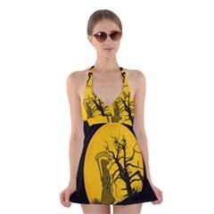 Death Haloween Background Card Halter Swimsuit Dress