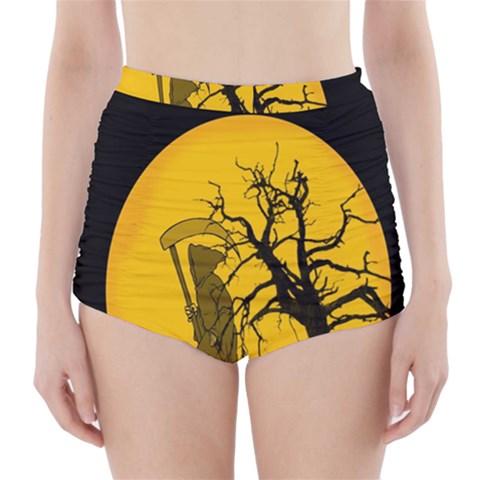 Death Haloween Background Card High-Waisted Bikini Bottoms