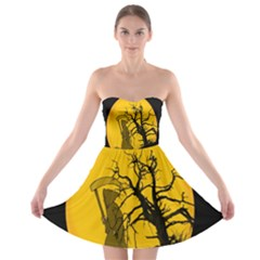 Death Haloween Background Card Strapless Bra Top Dress