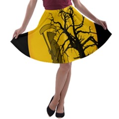 Death Haloween Background Card A-line Skater Skirt