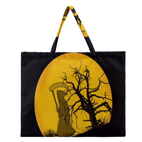 Death Haloween Background Card Zipper Large Tote Bag