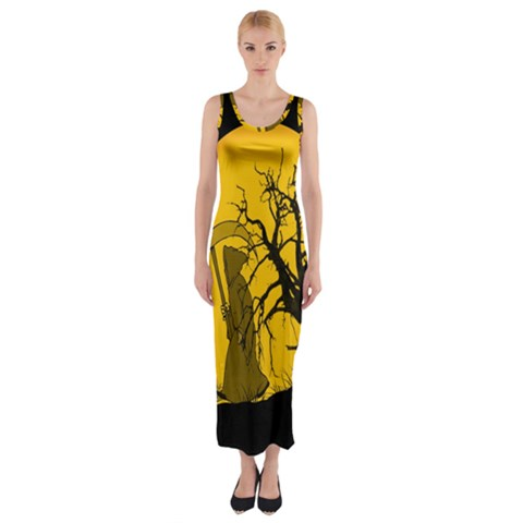 Death Haloween Background Card Fitted Maxi Dress