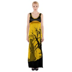 Death Haloween Background Card Maxi Thigh Split Dress