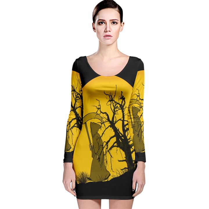 Death Haloween Background Card Long Sleeve Velvet Bodycon Dress