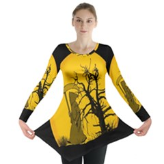 Death Haloween Background Card Long Sleeve Tunic