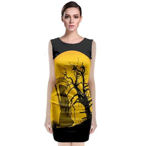 Death Haloween Background Card Classic Sleeveless Midi Dress