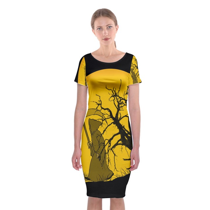 Death Haloween Background Card Classic Short Sleeve Midi Dress