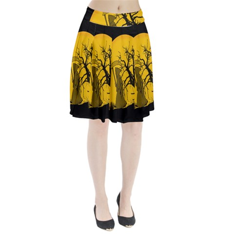 Death Haloween Background Card Pleated Skirt