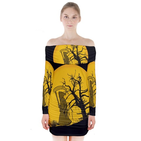 Death Haloween Background Card Long Sleeve Off Shoulder Dress