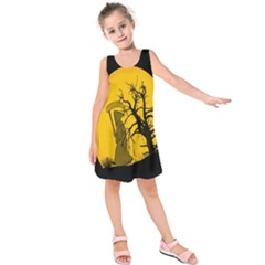 Death Haloween Background Card Kids  Sleeveless Dress