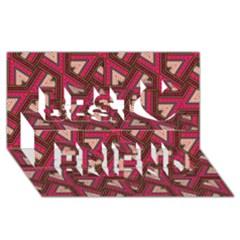 Digital Raspberry Pink Colorful  Best Friends 3D Greeting Card (8x4)