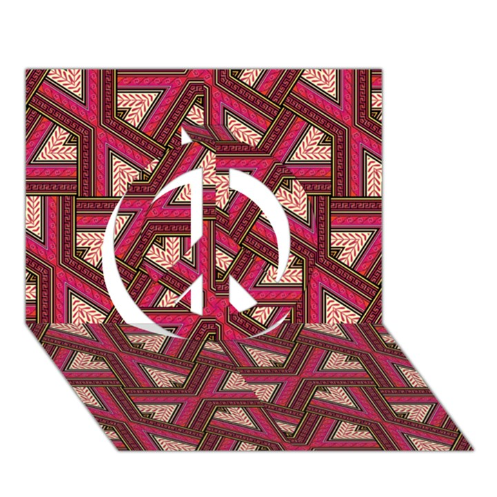 Digital Raspberry Pink Colorful  Peace Sign 3D Greeting Card (7x5)