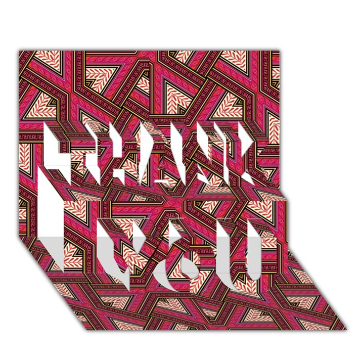Digital Raspberry Pink Colorful  THANK YOU 3D Greeting Card (7x5)