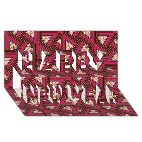 Digital Raspberry Pink Colorful  Happy New Year 3D Greeting Card (8x4)
