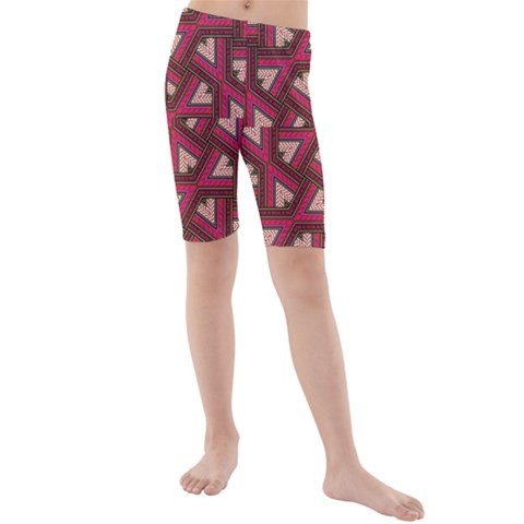 Digital Raspberry Pink Colorful  Kids  Mid Length Swim Shorts