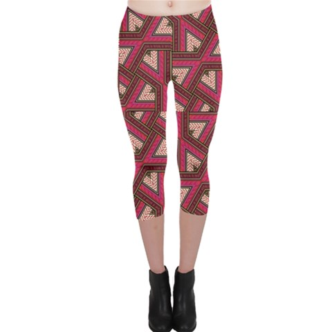 Digital Raspberry Pink Colorful  Capri Leggings