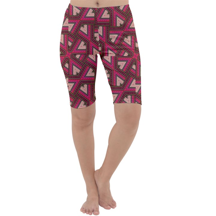 Digital Raspberry Pink Colorful  Cropped Leggings