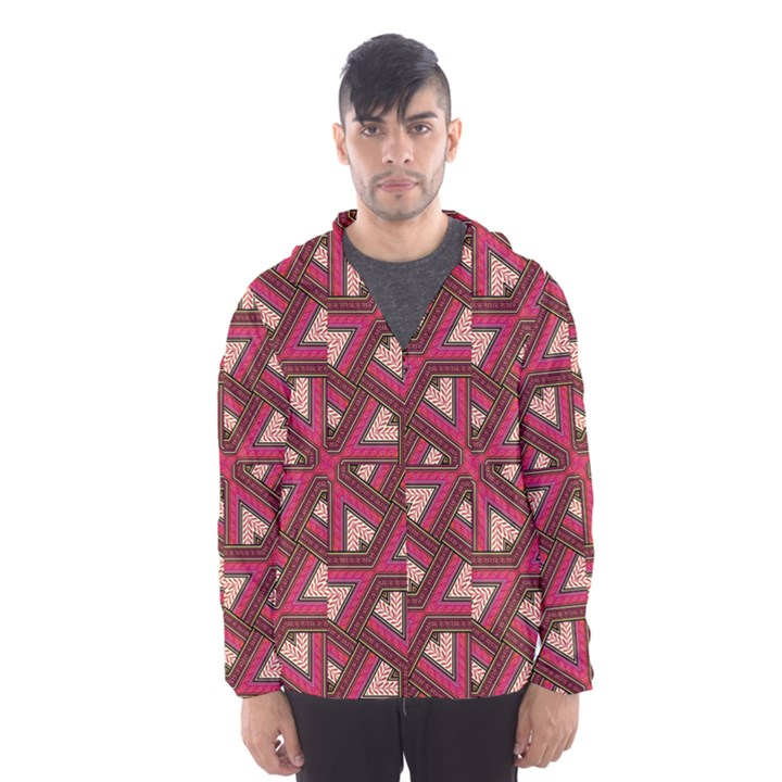 Digital Raspberry Pink Colorful  Hooded Wind Breaker (Men)