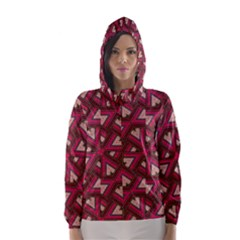 Digital Raspberry Pink Colorful  Hooded Wind Breaker (Women)