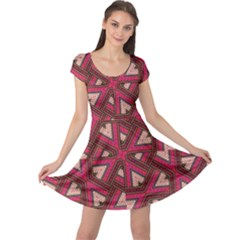 Digital Raspberry Pink Colorful  Cap Sleeve Dresses