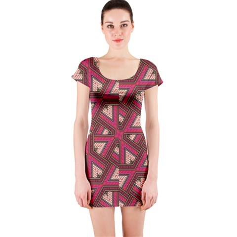 Digital Raspberry Pink Colorful  Short Sleeve Bodycon Dress