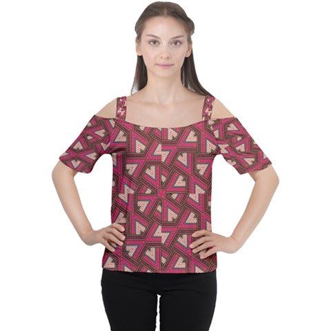 Digital Raspberry Pink Colorful  Women s Cutout Shoulder Tee