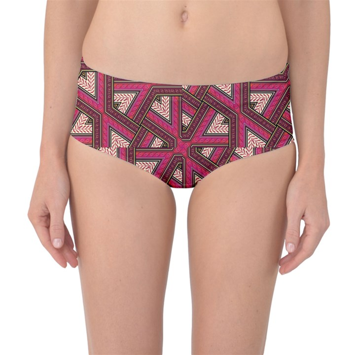 Digital Raspberry Pink Colorful  Mid-Waist Bikini Bottoms