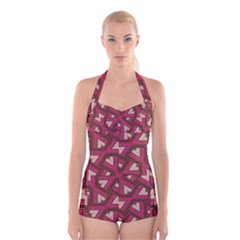 Digital Raspberry Pink Colorful  Boyleg Halter Swimsuit