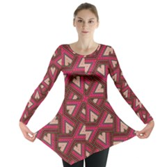 Digital Raspberry Pink Colorful  Long Sleeve Tunic