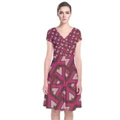 Digital Raspberry Pink Colorful  Short Sleeve Front Wrap Dress