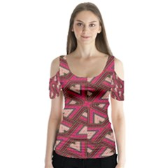 Digital Raspberry Pink Colorful  Butterfly Sleeve Cutout Tee