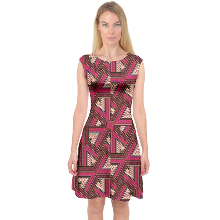 Digital Raspberry Pink Colorful  Capsleeve Midi Dress