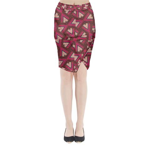 Digital Raspberry Pink Colorful  Midi Wrap Pencil Skirt