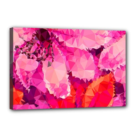 Geometric Magenta Garden Canvas 18  X 12