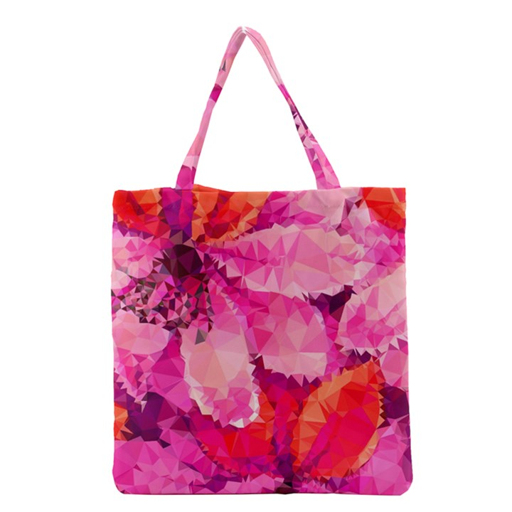 Geometric Magenta Garden Grocery Tote Bag